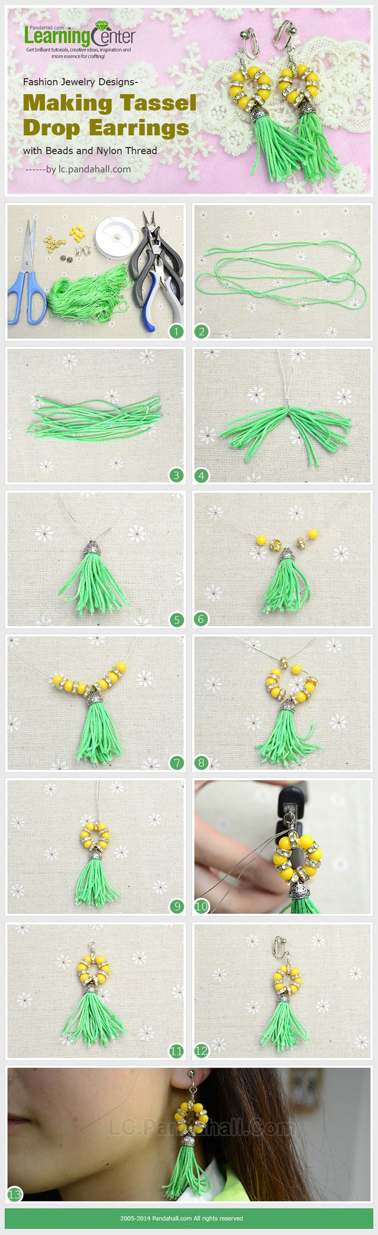 Making Tassel Drop Earrings With Beads And Nylon Thread