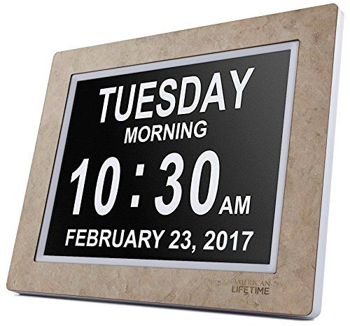 American Lifetime - Day Clock - Extra Large Impaired Vision Digital Clock with 4 Alarm Options & Battery Backup (Cream Marble)