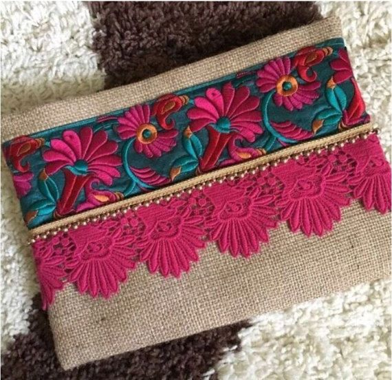Floral Boho Clutch bohemian clutch gift for her ethnic bag