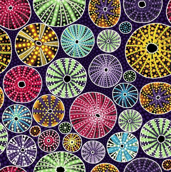 Australian Themed Fabric Urchin Down Under Shell In Purple By Oasis Beach Patt 60 119 01 Australia 100 Quality C Aboriginal Purple Fabric Fabric Bolts