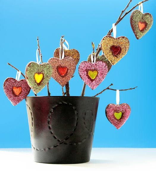 How to make a stained glass cookie tree • CakeJournal.comValentine Crafts, Cake, Glasses Heart, Shape Cookies, Heart Cookies, Cookies Trees, Glasses Cookies, Heart Trees, Stained Glasses