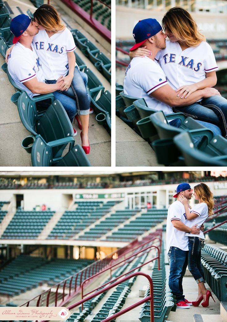It's opening day for Texas Rangers baseball and I couldn't have picked a more perfect day to share Lauren & Zach's engagement portraits! They're Texas Rangers fans and so they really wanted to do some of their engagement portraits at the Ballpark in Arlington, complete with their super-cute Save…