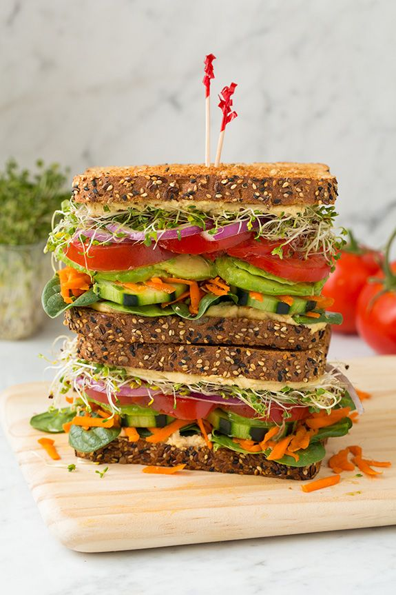 Not a big sandwich eater, but I would devour this! | Veggie and Hummus Sandwich | Cooking Classy..