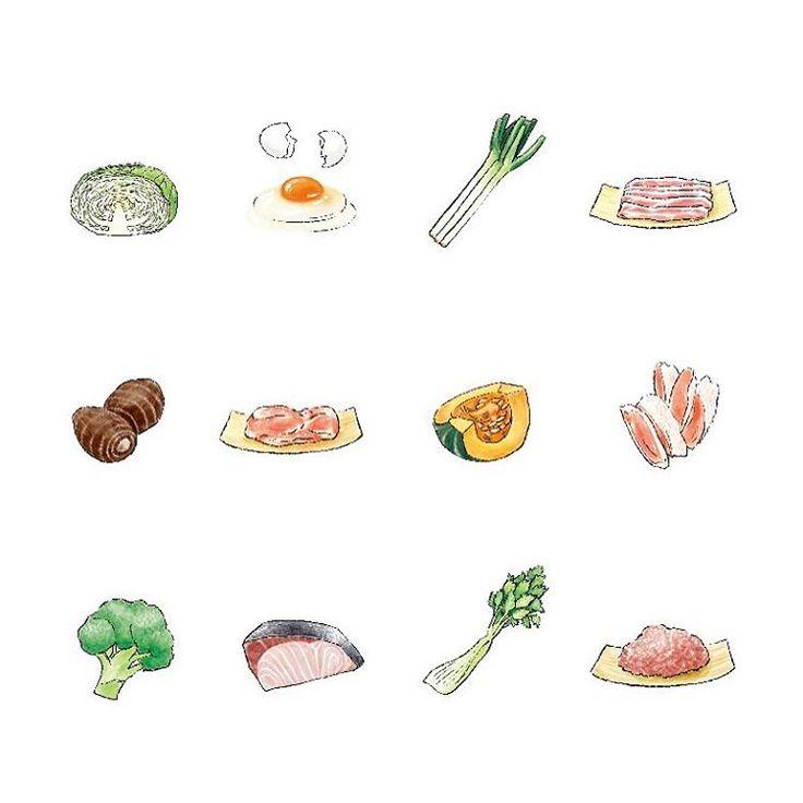 【works】本日2/20発売の『リンネル2017年4月号』の「食材2つでごちそう定食」にて、食材のイラストを担当しています。メインで使う食材は野菜1種と肉or魚1種だけで、主菜と副菜2〜3品ができるという、人気企画の第2弾。これ本当に有難いレシピです❗️  食べ物を描くのは食べるのと同じぐらい楽しい☺︎