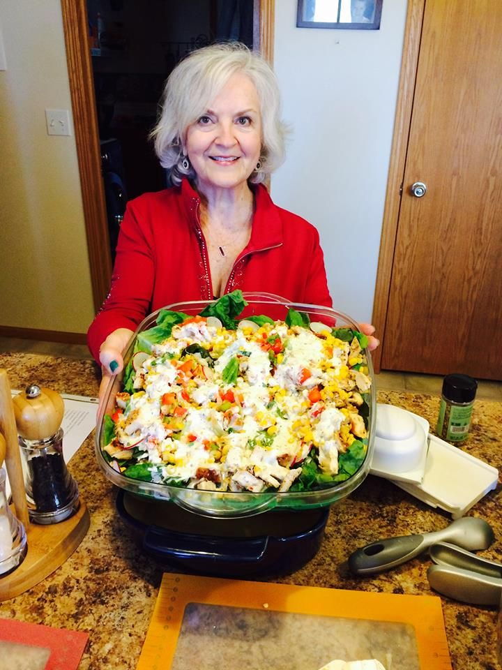 Fresh and Fast Salads!  Mexican Cobb Salad presented in The Pampered Chef Cool and Serve Tray!  My go to recipe for this month of parties!  Message me at pcca88@hotmail.com for more information!
