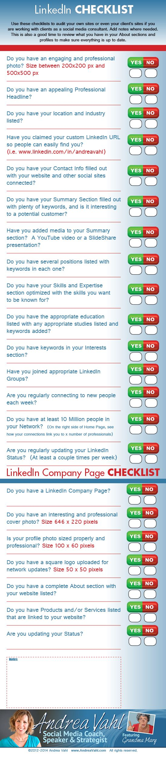 Do you need to make sure you are getting everything right on your LinkedIn profile or company page? Use this checklist to audit your own LinkedIn presence or that of your client.
