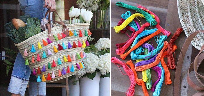 DIY: rieten tas met kwastjes