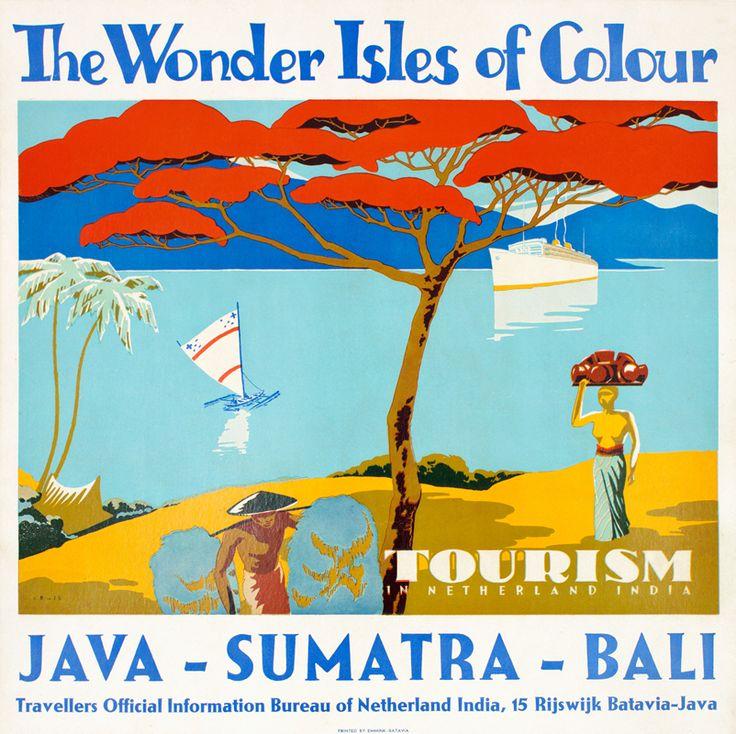 1950 The Wonder Isles of Colour: Java - Sumatra - Bali , Indonesia Vintage travel poster