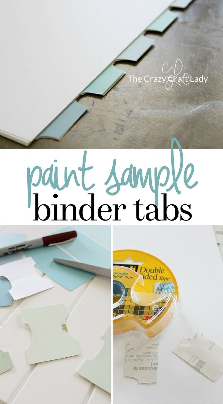 Get organized with these DIY Binder Tabs! Upcycle paint chips (paint sample cards) into fun and colorful binder or planner tabs. Such a simple and fun craft!