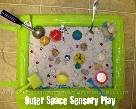 I made my 3 year old a fun Outer Space Sensory Exploration Play Activity yesterday. He received moon sand from my mom awhile back and was looking for ideas of different ways he could play with it. While I was putting it together, he had a very hard time being patient- he couldn't wait to ... Read More about  Outer Space Sensory Exporation Bin + 1 For Baby Too!