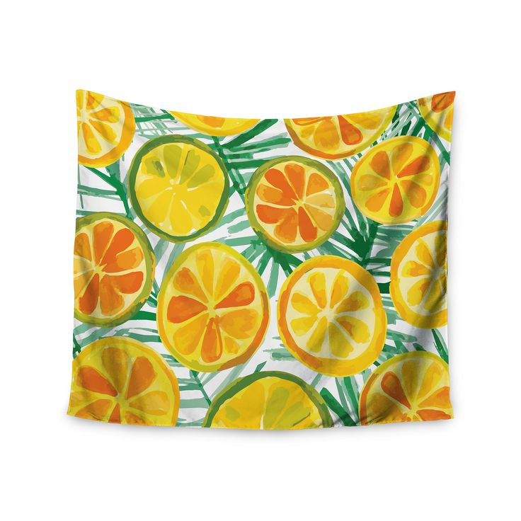 """Yenty Jap """"Tropical Orange Slices"""" Orange Green Watercolor Wall Tapestry from KESS InHouse"""