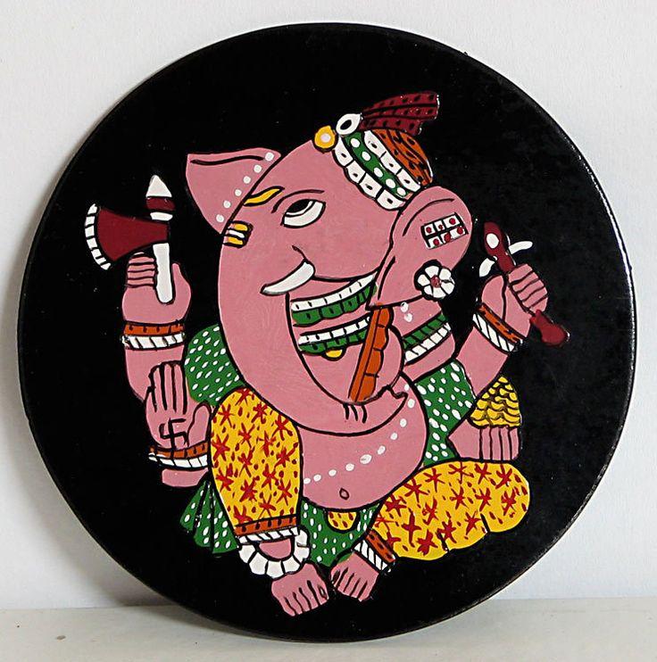Lord+Ganesha+-+Wall+Hanging+(Madhubani+Folk+Art+on+Hardboard))+