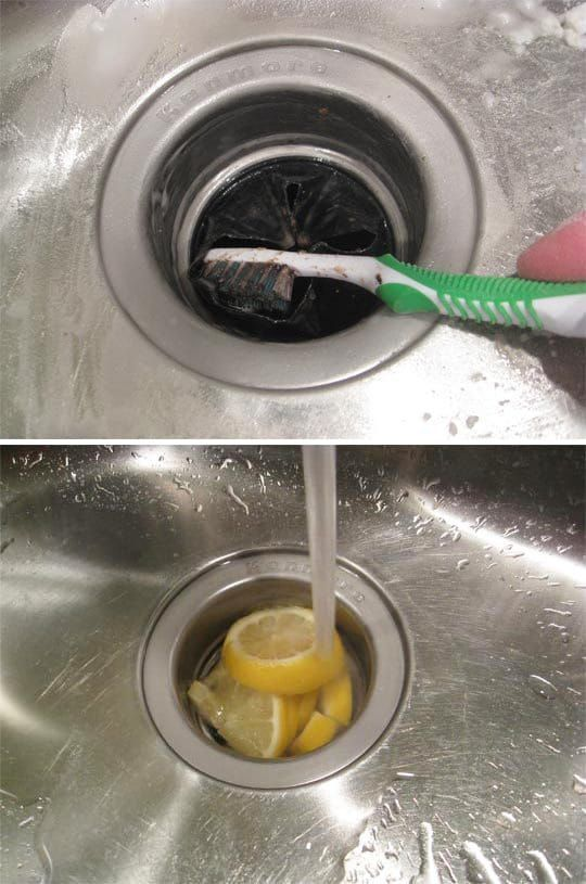Your sink drain is home to some of the grimiest dirt and germs. Get directions baking soda, a toothbrush, and citrus fruits to get your sink smelling and looking fresh here.