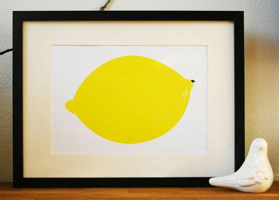 Graphic Art Print poster of a Lemon yellow A4 8.3 x by Ramalamb