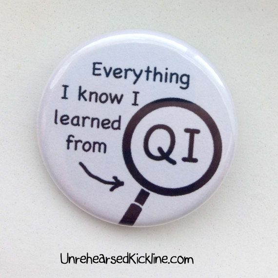 Everything I Know I Learned From QI Button Stephen Fry Pin Badge Alan Davies Quite Interesting