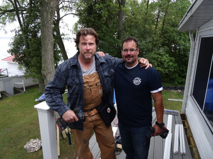 Todd from Your Deck Co. And Dean McDermott working on one of the decks for the show Cabin Fever