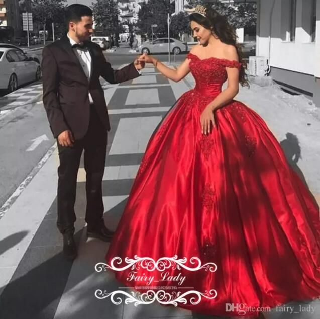Cheap Red Satin Quinceanera Dresses For Girls 2017 Ball Gown Off Shoulder Appliques Beads Long Sweet 16 Prom Dress Formal Gowns