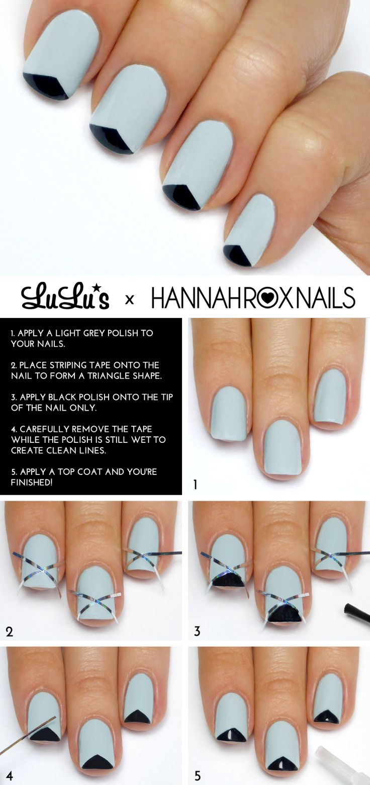 Mani Monday: Grey and Black Triangle Tip French Mani Tutorial at LuLus.com!