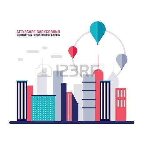 Cityscape sfondo della citt� la costruzione di sagome moderno stile di design piatto illustrazione vettoriale photo