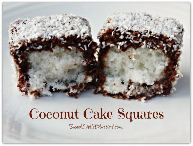 Coconut Cake Squares (also known as Lamingtons) - Delicate little white cakes coated in yummy chocolate and rolled in finely shredded coconut. Little bites of heaven!