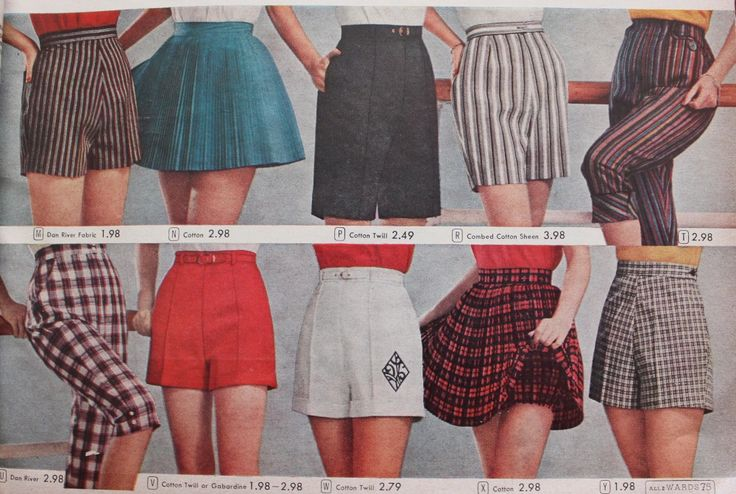 1950s shorts, mostly short shorts with a few longer styles and a tennis skirt as well