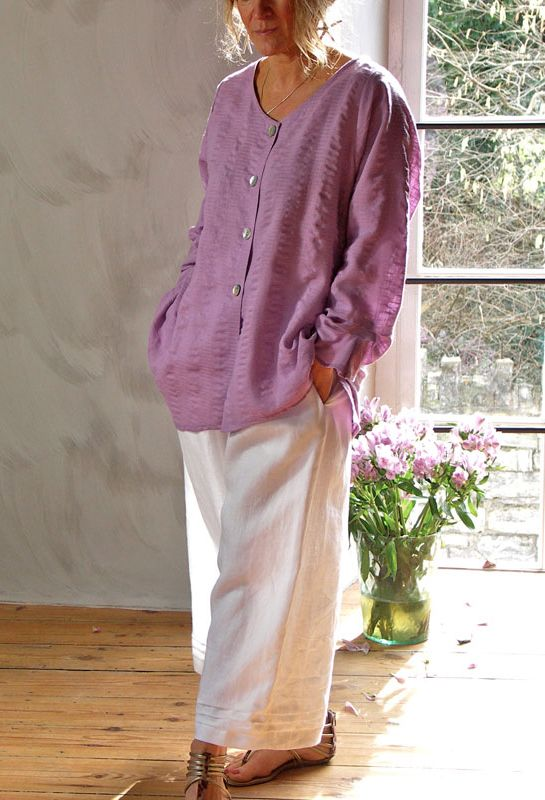Tasman Shirt in linen £198, over Pleated Morocco Trousers £195.