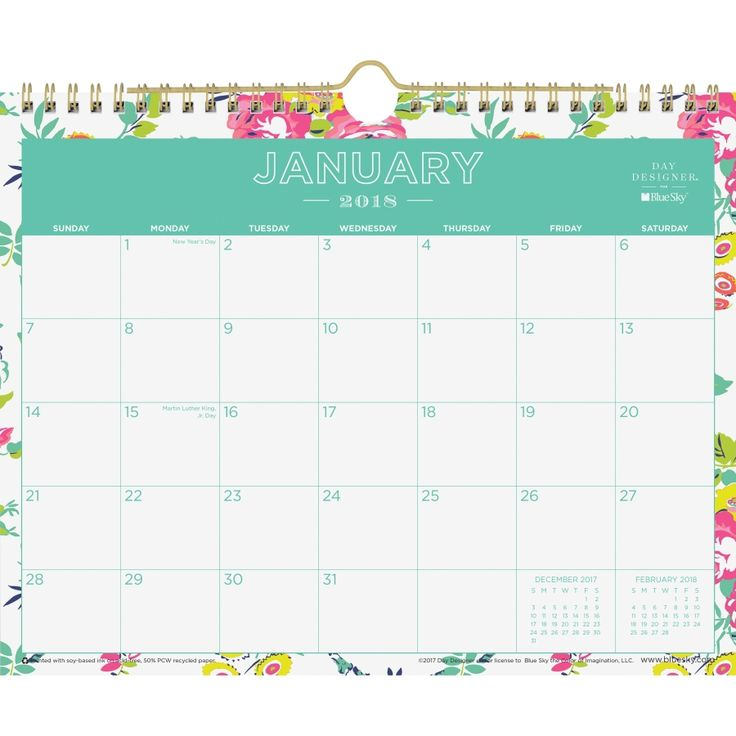 Blue Sky Day Designer White Floral Wall Calendar  Day Designer Wall Calendar features a chic, modern design for a stylish way to keep you on track and focused throughout your busy day. Twin-wire binding allows you to quickly turn the pages at the end of each month. Thick, premium-quality pages reduce ink bleed-through to ensure your writing stays legible.  BLS103629 | formydesk.com