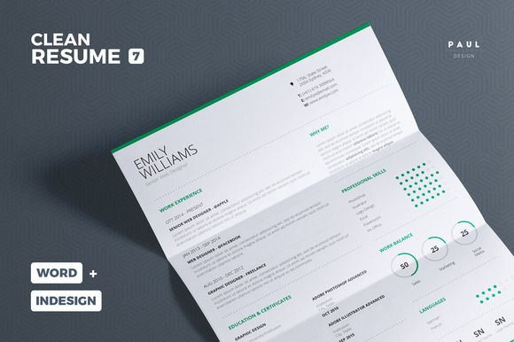 Clean Resume/Cv Vol. 7 by The Resume Creator on @creativemarket
