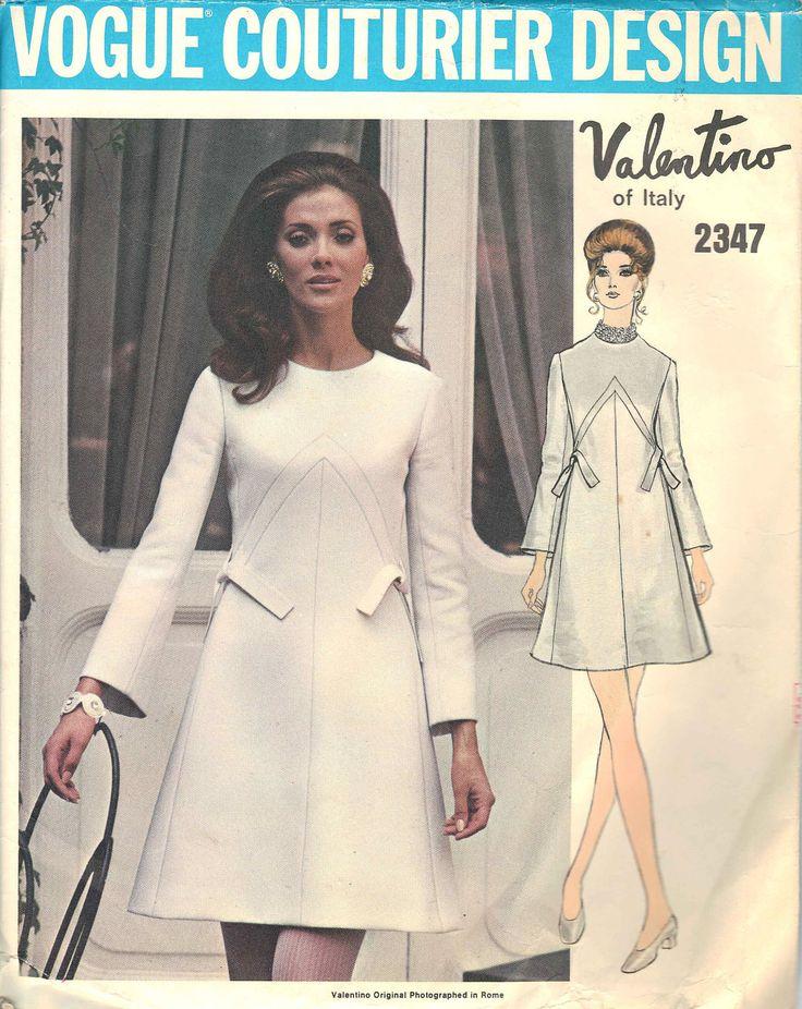 Vintage Valentino Vogue Couturier Design Dress Pattern, Size 14, Bust 36, Hip 38, No. 2347, 1970s High Fashion Designer