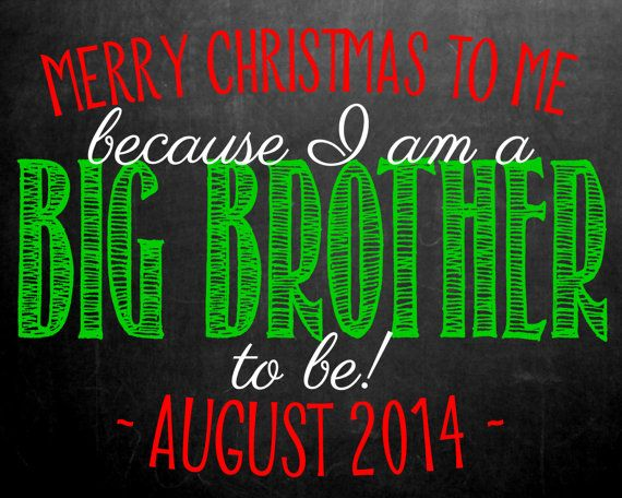 Christmas Themed Chalkboard Pregnancy for Big Brother by MMasonDesigns on Etsy, $15.00