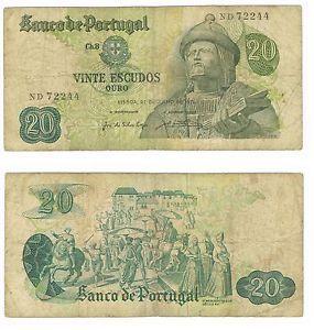 Portugal 20 Escudos 1971 P173 Paper Money Banknote | eBay