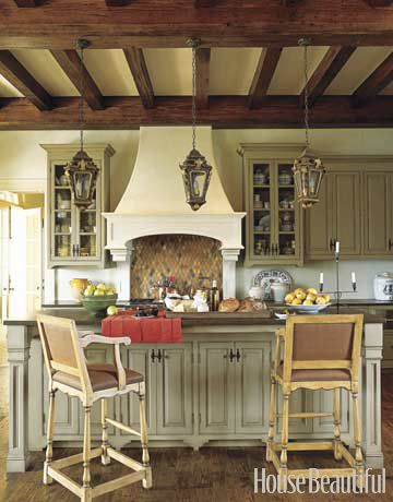 BeautifulCeilings Beams, Cabinets Colors, Exposed Beams, Expo Beams, Range Hoods, New Kitchens, Kitchens Cabinets, Kitchen Designs, Wood Beams