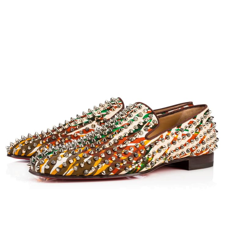 CHRISTIAN LOUBOUTIN Dandelion spikes flat canevas jungle/gg cotton - Men  Shoes - Christian Louboutin
