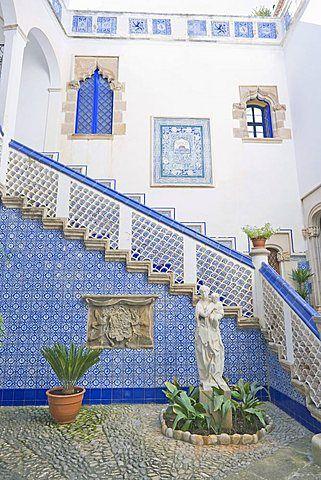 Palau Maricel patio (Maricel de Mar museum), Sitges, Costa Dorada, Catalonia. Spain