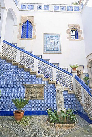Palau Maricel patio (Maricel de Mar museum), Sitges, Costa Dorada, Catalonia.