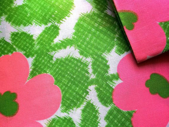 Vintage Fabric 60's Linen Pink Green White by Freshandswanky, $10.00