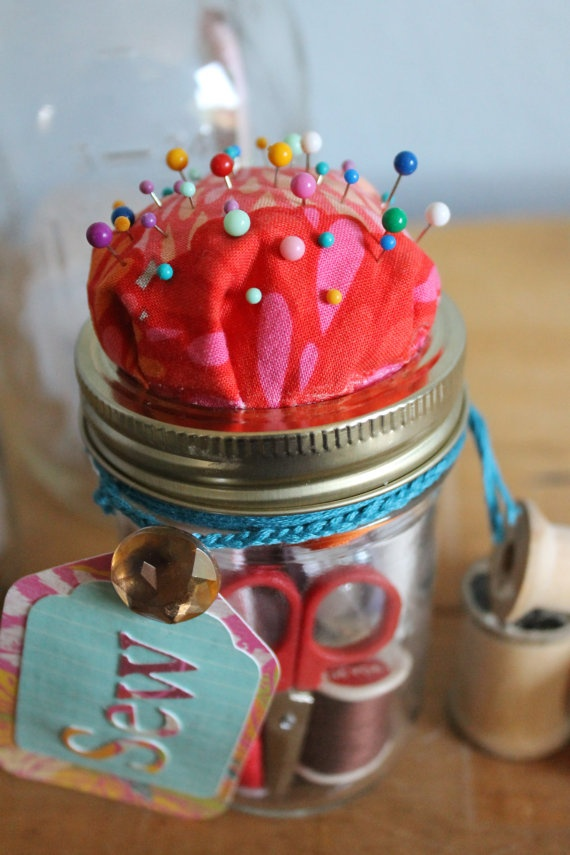 Glass Jar Pin Cushion and sewing jar
