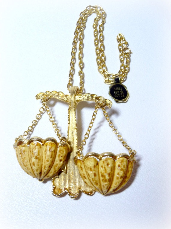 Vintage 1970s Luke RAZZA Libra Zodiac Necklace by VintagebyMelinda, $70.00