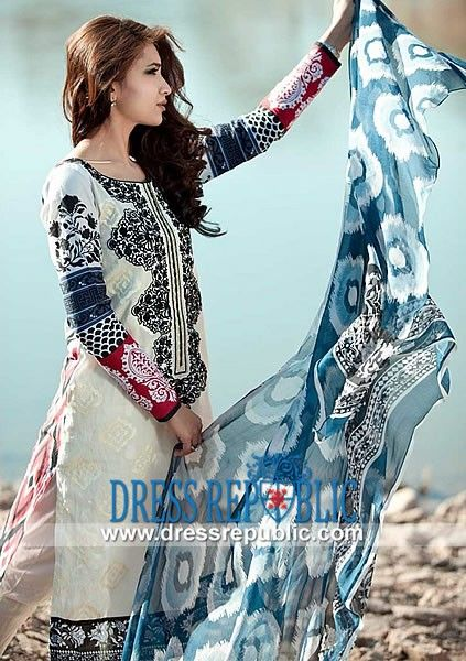 Printed Lawn Outfit features Round Neck & Printed Sleeves Maria B 2014