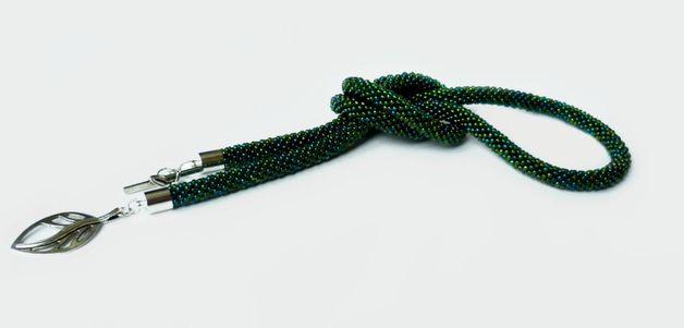 Naszyjnik Zielona Bajka - Projektownia - Naszyjniki długie #beadcrochet rope long necklace