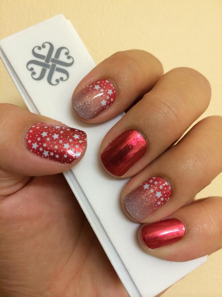 Jamberry June 2014 Sister Style Exclusive Born To Sparkle and Fire Engine (Glimmer)! Check them out at www.MarySeto.JamberryNails.net!