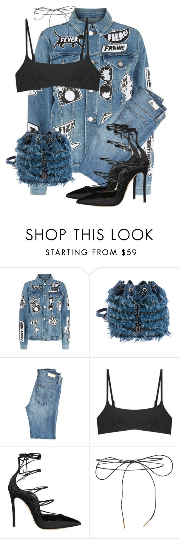 """""""Untitled #3797"""" by xirix ❤ liked on Polyvore featuring Frame, Chanel, AG Adriano Goldschmied, Matteau, Dsquared2 and Lilou"""