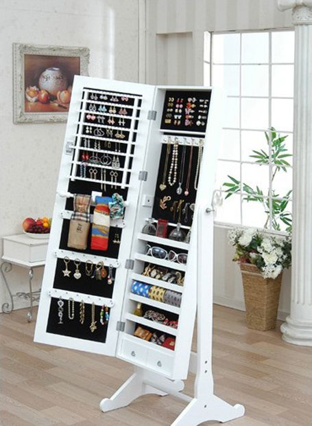 full length mirror with jewelry storage inside. I want this! love homedecor