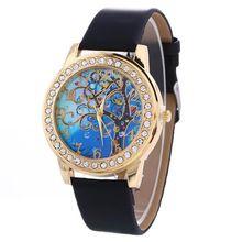 Marca de lujo Árbol de Fahion Mujeres Casual Damas señoras brazalete de diamantes relojes banda de Cuero de Cuarzo Analógico Reloj de pulsera vestido de la muchacha(China)