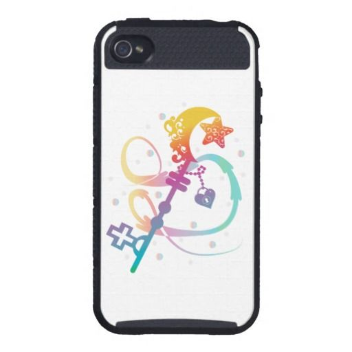Cute Rainbow Silhouette Heart Moon Key With Locket Case For iPhone 4