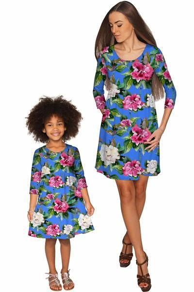Aquarelle Gloria Empire Waist Floral Mommy and Me Dresses - Pineapple - Mommy and Me Clothing