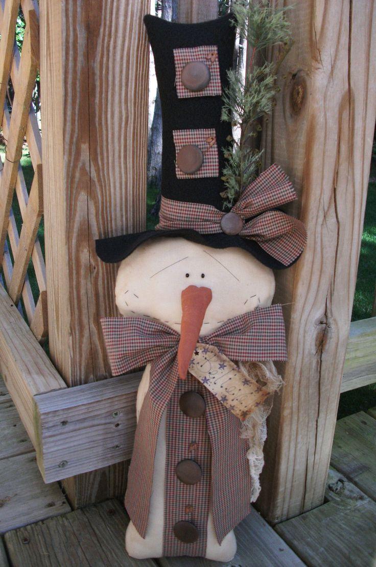 Folk Art Primitive Winter Christmas Snowman Stump Grungy Doll Star Decoration | eBay