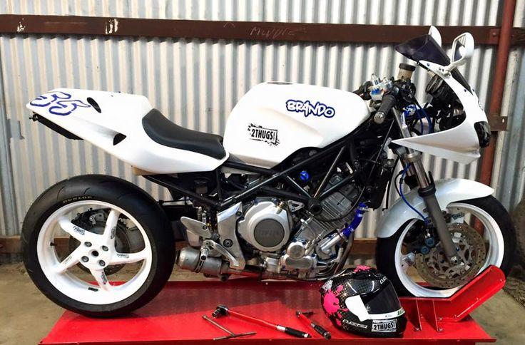 Fully customized Yamaha TRX850 including single sided swing arm conversion.
