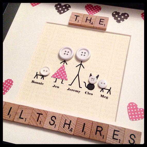 Lovely family frame personalised with choice of colour paper and buttons, add up to 8 people/pets. Scrabble tiles for family name or our family, At checkout please send me list of names from tallest to shortest with the age to give me a rough idea on size Box frame is 10. Available in black or white.