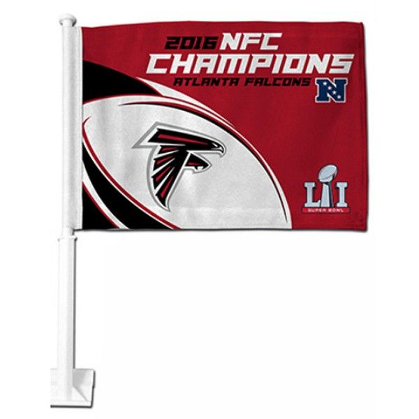 Atlanta Falcons 2016 NFC Champs Car Flag is double sided printed with Atlanta Falcons logos. Our 2016 NFC Champs Car Flags measure 12x15 inches, are...